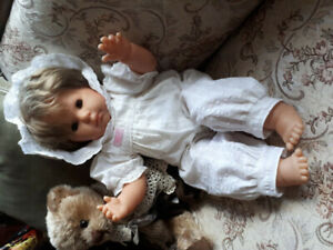 "Vintage Zapf Creations 21"" baby doll. Brown eyes, brown hair."