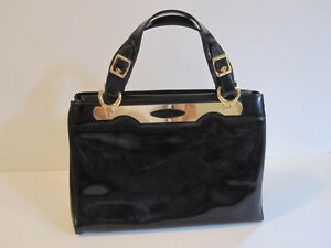 Holt Renfrew Black Patent Leather Vintage Handbag