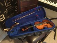 3/4 violin with case, bow and shoulder rest.