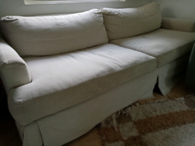 Large cream marl sofa/settee/couch with washable covers