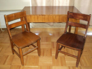 VINTAGE CHILDRENS TABLE AND CHAIRS - 1940-50's