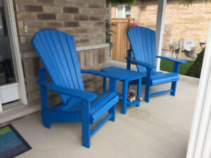Electric blue resin Adirondack patio chair set with table