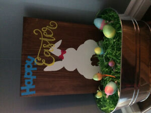 Easter buckets, plates and wine glasses