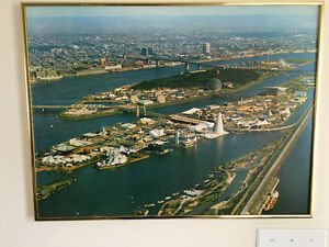 EXPO '67, MONTREAL. Large Metal Framed Poster of Site.