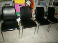 4 Stackables commercial chairs - metal frame and leather look