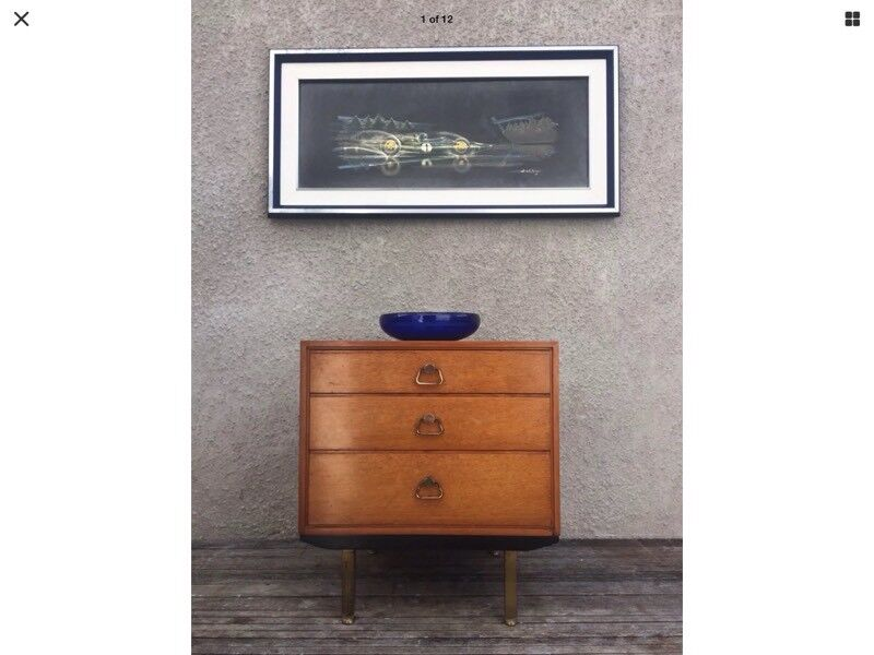 Unusual Mid Century 'G Plan' Style Lebus Chest Of Drawers On Legs Danish