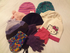 11 Pcs. Assorted girls hats,mittens....... Size 6