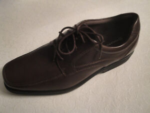SIZE 11 ROCKPORT BROWN LEATHER SHOES, BRAND NEW!