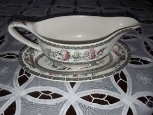 PORCELAIN GRAVY BOAT AND DISH, JOHNSON, BROS. ENGLA