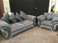 Fabulous modern grey cloth and leather suite