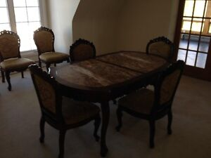 Dining table and 6 chairs, Marble top