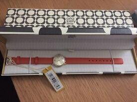 Orla Kiely Gold Dial Orange Strap Watch