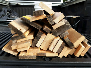 bundles of firewood cut from pallets