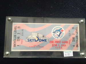 FIRST GAME AT THE SKYDOME TORONTO BLUE JAYS TICKET ENCASED