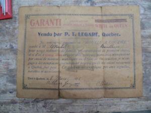 papier antique de garantie de p.t. légaré