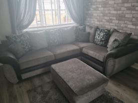 Grey corner sofa, cuddle chair and footstool