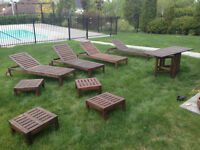 long chairs, side tables, folding table/longues chaises, tables