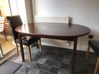 Wooden extending dining table with/without 4 faux leather chairs