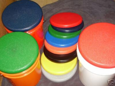 50--COLORED PLASTIC BUCKET LIDS --Fit  5/6 Plastic pail--Domed Lids Heavy Duty