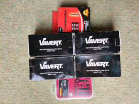 5 brand new inner tubes and large puncture repair kit