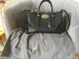 Mulberry Small Bayswater Zipped Black Leather Bag