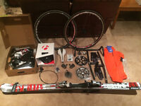Wheels, handlebars, gloves, helmet, and other parts for sale!