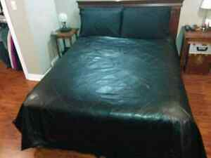 Black Queen size faux leather bedspread