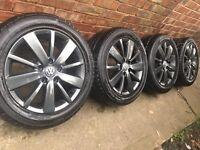 """New 16"""" Genuine VW Golf Croft alloy wheels and good Pirelli tyres Pescaro 5x112 Caddy Touran"""
