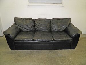 BLACK FAUX LEATHER COUCH & CHAIR
