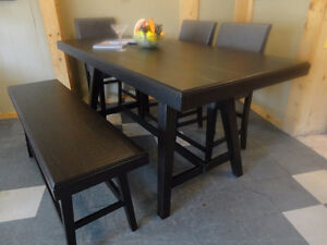 RUSTIC but brand new, counter height gathering table set. Unique