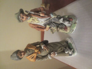 Lot of 2 Antique or Vintage Old Man & Old Women Figurines 12 Inc
