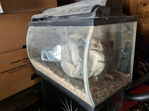 10 gallon Fish Tank with bowed front glass & bag of tank gravel