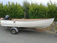 12ft Bonwitco boat, engine and trailer
