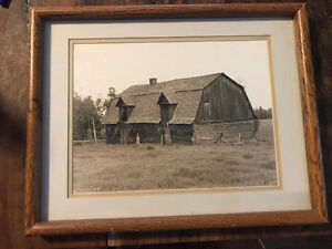 black and white barn picture framed