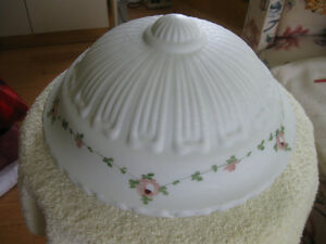 GORGEOUS VINTAGE LARGE ROUND SATIN GLASS CEILING SHADE