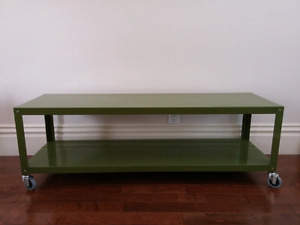 Industrial C&B coffee table tv stand green locking casters