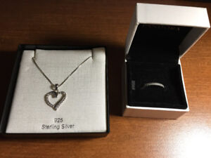 Pandora Ring and Amor Necklace For Sale