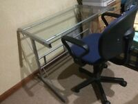 Glass desk and swivel chair for good home