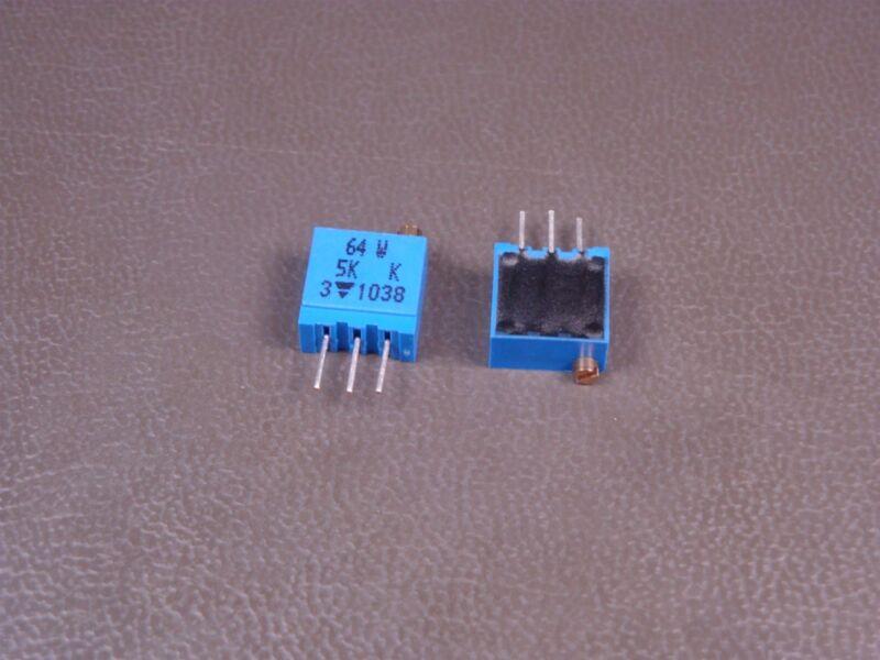 "Lot of 2 64W502 Vishay Trimmer Resistor 3/8"" Square 5k Ohm 10% 1/2W 500mW NOS"