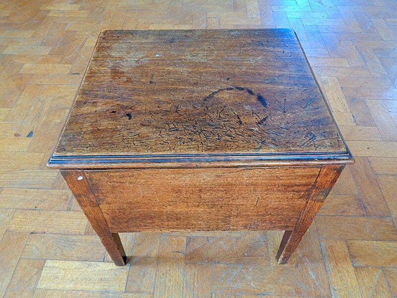 Antique Vintage Oak Side Table Coffee Flip Top Rustic Sewing Box