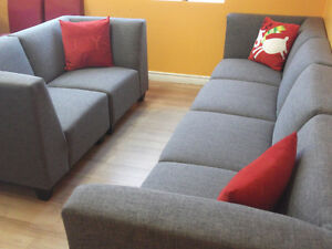 BEAUTIFUL 6 PIECE GREY MODULAR COUCHES - USED 3 WEEKS London Ontario image 3