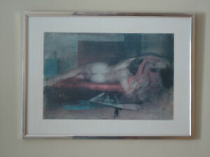 Painting Print Framed in Metal and Glass - Reclining Nude