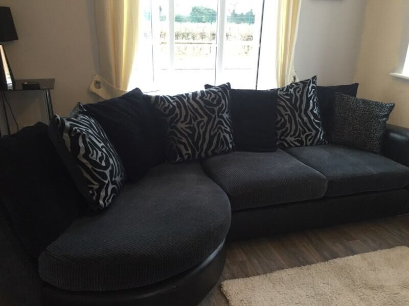 Dfs Sofa For Sale With Swivel Chair And Footstool Black