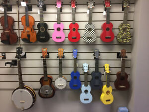 Ukes! Great selection of ukuleles at Dockside Music