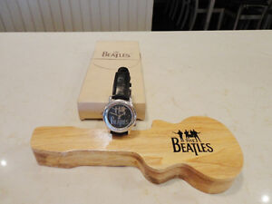 Rare Collectible Beatles Watch w/ Wood Guitar Case -gently used
