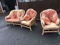 WICKER CANE CONSERVATORY SUITE CHAIRS AND SOFA ** FREE DELIVERY AVAILABLE **