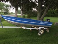 2001 14 foot aluminum fishing boat 20 hp merc