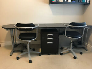 IKEA GALANT DESK, FILE CABINET & 2 CHAIRS