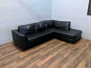 (Free Delivery) - Black L-shaped sectional sofa