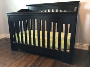 Crib & Change table top - Espresso stained hard wood